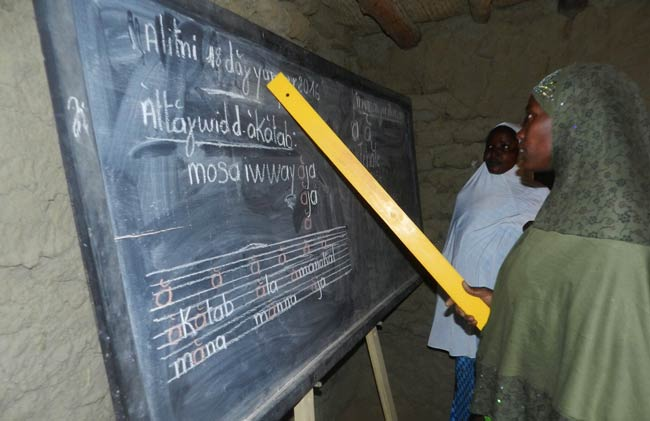 Image of an adult female student reciting her lesson at the blackboard in the Tourari school built by Caravan to Class