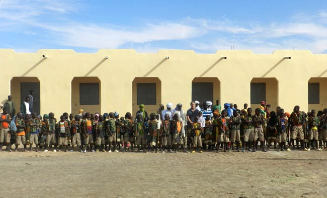 Image of the completed school in the village of Kakondji built by Caravan to Class