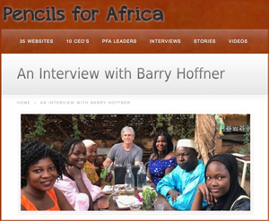 Image of the interview webpage on Pencils for Africa