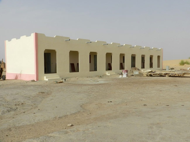 Image of the finished school building in Samdiar built by Caravan to Class